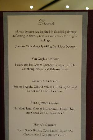 Blue Diamond Riviera Maya: Dessert menu