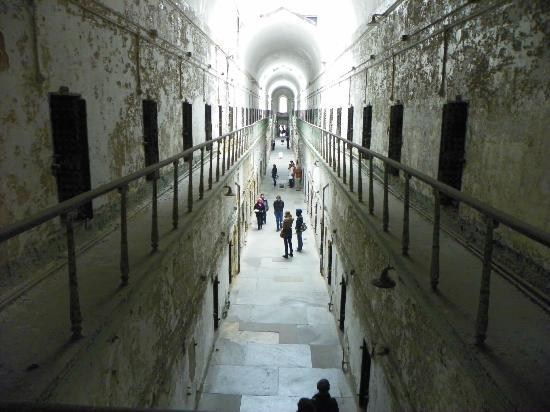 Eastern State Penitentiary: looking down the cell block from the upper level