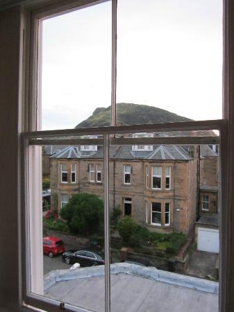 Hotel Ceilidh-Donia: View of Holyrood Park from third floor room.