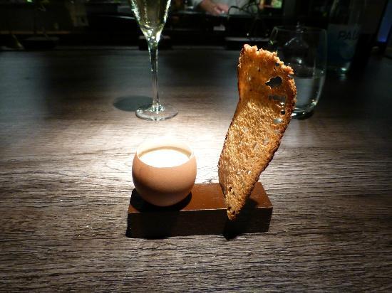 Aramburu: Cooked egg, chicken stock, mushroom foam with tomato focaccia