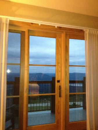 The Lodge at Mount Magazine: The balcony has a glass door and a screen door. Awesome!