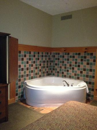 The Lodge at Mount Magazine: Jaccuzi in the deluxe king room. Big enough for two!