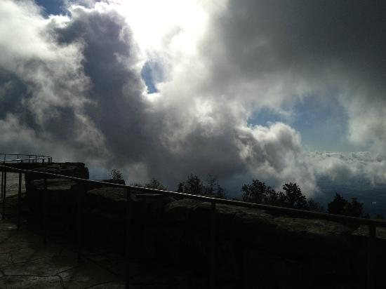 The Lodge at Mount Magazine: Watching clouds clear from the valley and go over the lodge