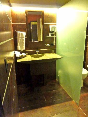 Diez Hotel Categoria Colombia: Modern stylish bathroom, complete with telephone, good amenities (comb, shoe buff, shaving cream