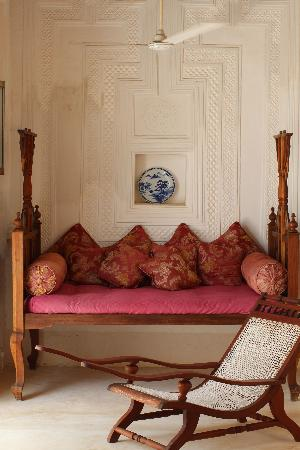 Baytil Ajaib: A day bed in the sitting area outside our room