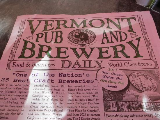 Vermont Pub and Brewery: The menu