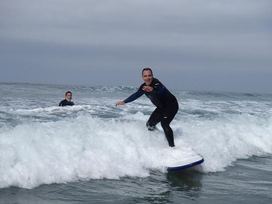 San Diego Surfing Academy Lessons: First wave alone!