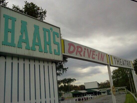 Haars Drive In Theater: front entrance with screen in background