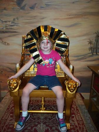 Tomb Egyptian Adventure: It is difficult to take pics inside the tomb, but afterwards, we ook pics with the dress-up stuf