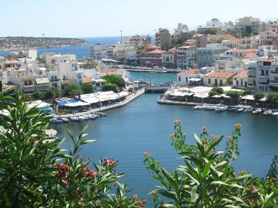 Agios Nikolaos, Greece: lake, the bridge and smoothly entering to the sea