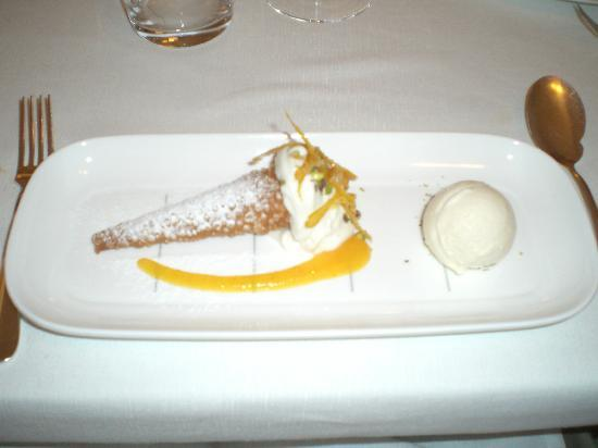 La Madia: Seventh course (mine) - like a cannoli with a scoop of ice creame (delicious)