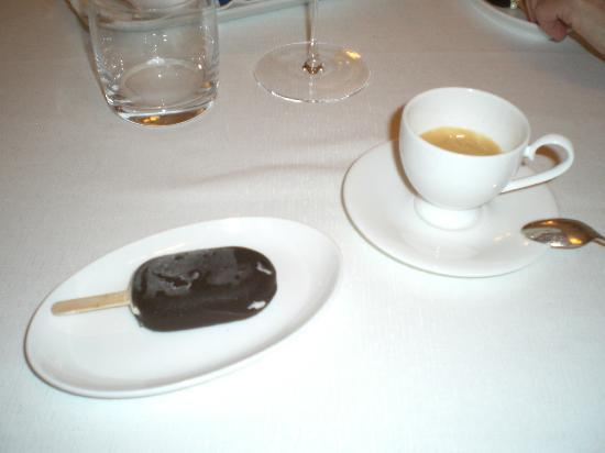 La Madia: Final course - a homemade dark chocolate vanilla ice cream pop with espresso