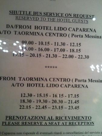 Caparena Hotel : Bus a Taormina - Horários