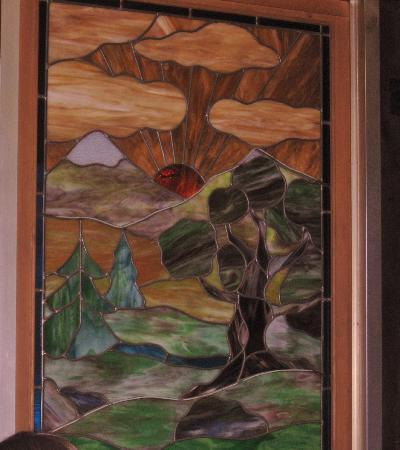 Gastrognome: Stained glass window in dining room