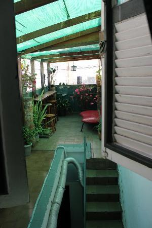 Hostel Harmonia: View from the window in my room, little terrace