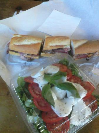 Angelo's Italian Deli: Delicious caprese salad and perfect pastrami and cheese sandwich.