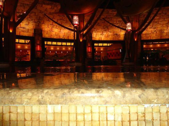 Mohegan Sun: A pretty indoor pond with the check-in desk behind it.