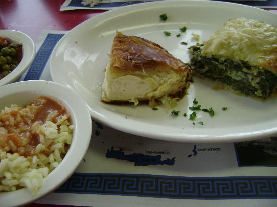 Jimmy's Greek American Grill : Spanikopita (spinach pie), Tiropita (cheese pie), peas and rice.