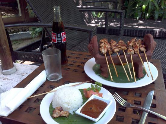 Rumah Santai Villas: Satay Sticks from La Monde, delivered to the pool