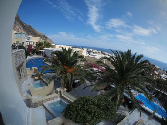 Antinea Suites Hotel & Spa: View from window (fish-eye lens)