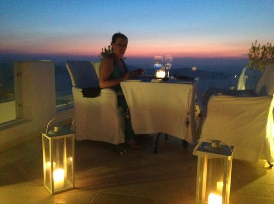 Above Blue Suites: our very special candle lit dinner, a bit windy unfortunateley
