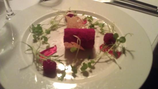 Restaurant Fænøsund: Fois gras terrine med variation af hindbær