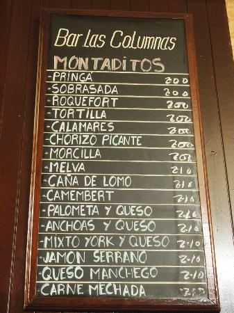 Bodega Santa Cruz: The montaditos (bread) menu
