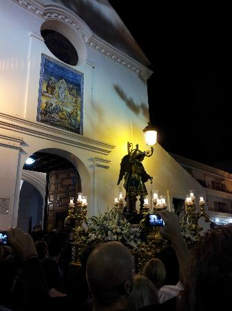 Church of El Salvador: Michael the Archangel about to enter the church