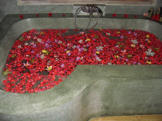 Surya Shanti Villa: le bain de fleur à notre arrivée
