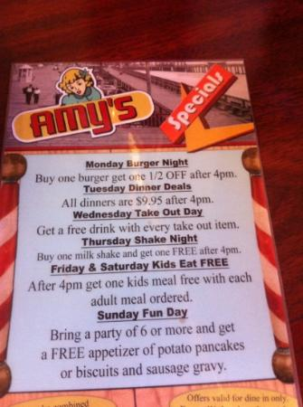 Amy's Omelette House: check out the specials