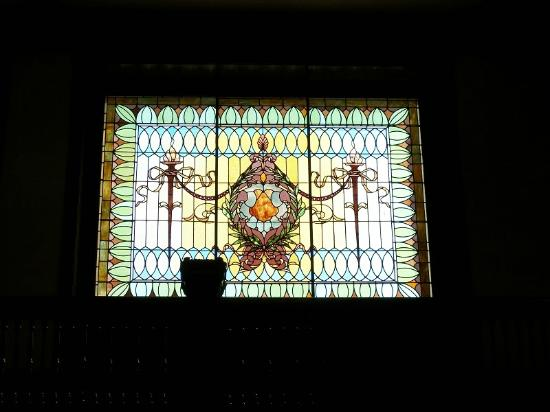 Montgomery Visitors Center: stained glass window in old union station Montgomery