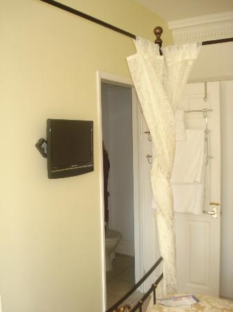 Braddon Hall Hotel : door to bathroom and TV