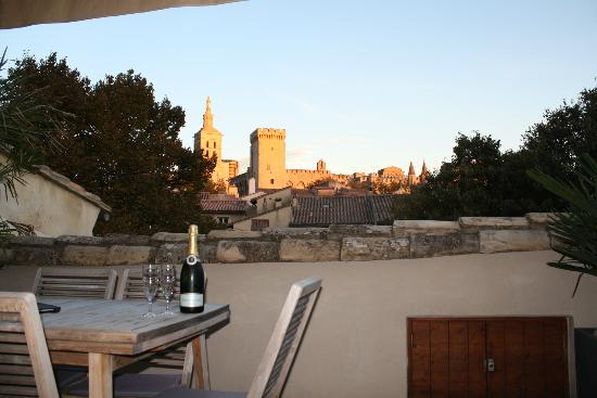 Le Limas : View from the rooftop at sunset