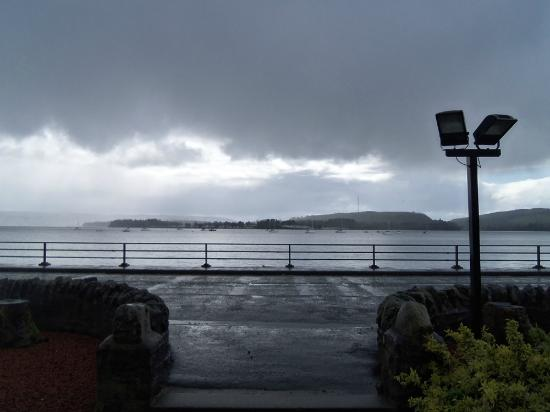 Ardencaple Hotel: The View of Gare Loch from the front door.  Yes the weather is typical - a wee Scottish mist