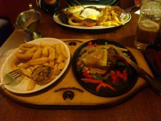 Lord Gascoigne: mixed grill and the 9oz steak smothered with cheese and peppercorn sauce