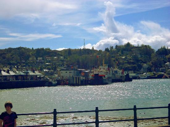 The View across the sea wall out the window of Little Bay Cafe in Oban, Scotland