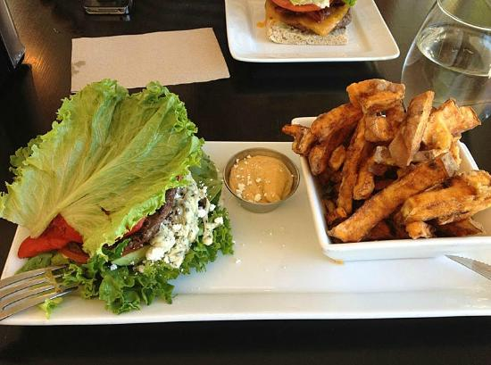 Nuburger: Yummy bison burger with a lettuce wrap and yam fries