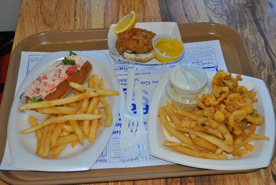 Seafood Sam's On The Canal: Crab/Lobster roll, fried whole belly clams, and a stuffed quahog.