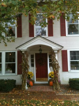 Covered Bridge House: Entrance with Fall decoration Oct 2012