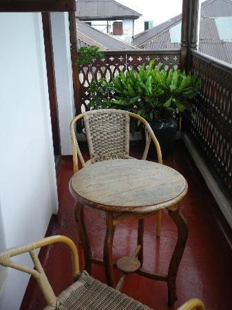 "Zanzibar Palace Hotel: Our little Balcony off ""Sultana"". Each morning I rang for tea and it was delivered to our room."