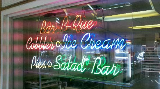 Neon sign of their main food products - Picture of Peach Park