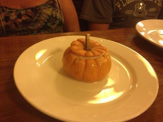 Thai Mango: pumpkin dessert, with a real pumpkin and custard inside.