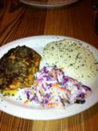 Jonah's Fish & Grits: Salmon, grits, and red cabbage cole slaw