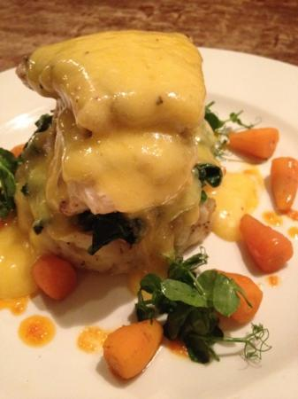 The Bull Inn: Cod with spinach and smashed potatoes