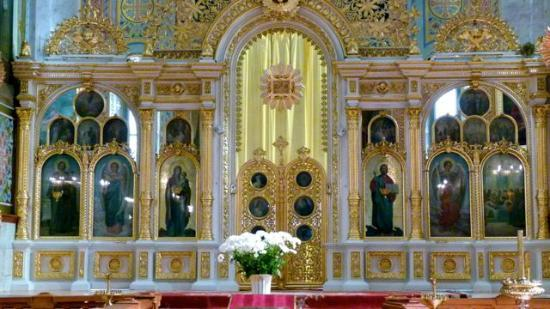 Potemkin Steps: The interior of an Greek Orthodox church.