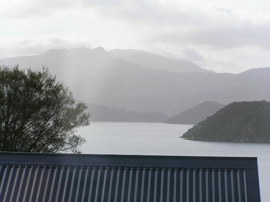Akaroa House: View of Akaroa Harbour from bedroom