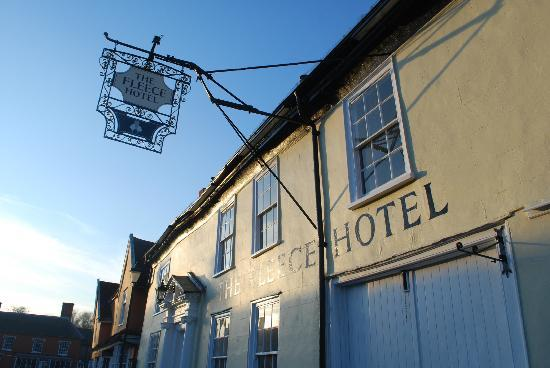 The Fleece Hotel: The front of the pub with sign