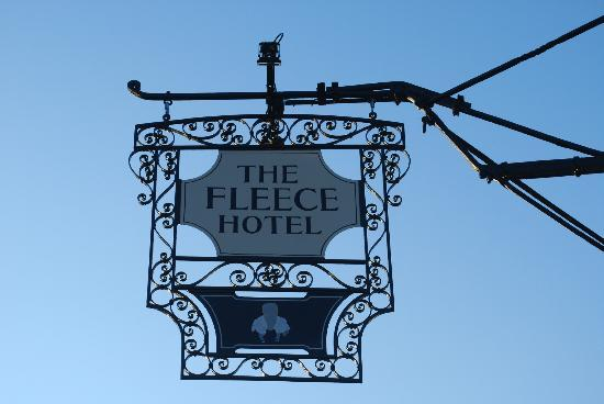 The Fleece Hotel: Sign out the front