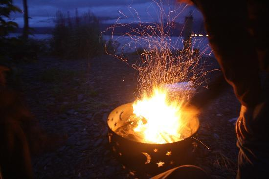 Angels Rest on Resurrection Bay, LLC: Fire in the pit at night...nice way to relax with a few wines