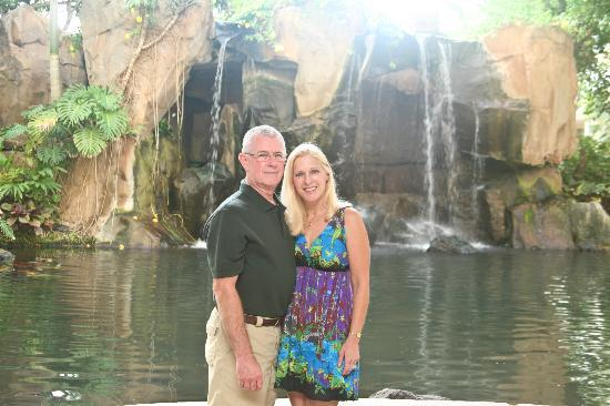 The Westin Maui Resort & Spa: Standing in the lobby with the waterfall and pool behind us